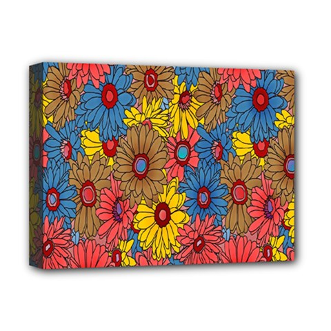 Background With Multi Color Floral Pattern Deluxe Canvas 16  X 12
