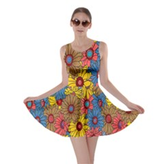 Background With Multi Color Floral Pattern Skater Dress