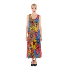 Background With Multi Color Floral Pattern Sleeveless Maxi Dress