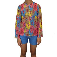 Background With Multi Color Floral Pattern Kids  Long Sleeve Swimwear