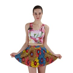 Background With Multi Color Floral Pattern Mini Skirt
