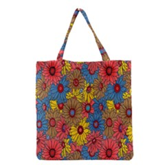 Background With Multi Color Floral Pattern Grocery Tote Bag