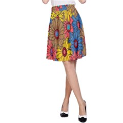 Background With Multi Color Floral Pattern A Line Skirt