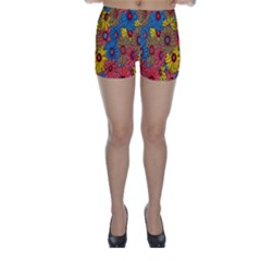 Background With Multi Color Floral Pattern Skinny Shorts