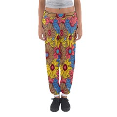Background With Multi Color Floral Pattern Women s Jogger Sweatpants