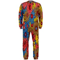 Background With Multi Color Floral Pattern Onepiece Jumpsuit (men)