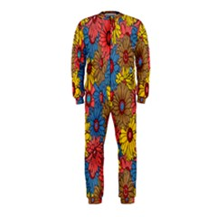 Background With Multi Color Floral Pattern Onepiece Jumpsuit (kids)