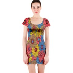 Background With Multi Color Floral Pattern Short Sleeve Bodycon Dress