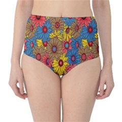 Background With Multi Color Floral Pattern High Waist Bikini Bottoms