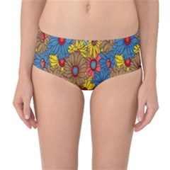 Background With Multi Color Floral Pattern Mid Waist Bikini Bottoms