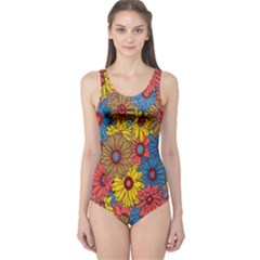 Background With Multi Color Floral Pattern One Piece Swimsuit
