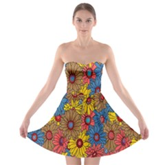 Background With Multi Color Floral Pattern Strapless Bra Top Dress