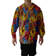 Background With Multi Color Floral Pattern Hooded Wind Breaker (kids)