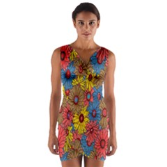 Background With Multi Color Floral Pattern Wrap Front Bodycon Dress