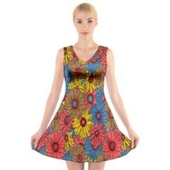 Background With Multi Color Floral Pattern V Neck Sleeveless Skater Dress