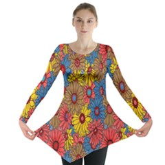 Background With Multi Color Floral Pattern Long Sleeve Tunic