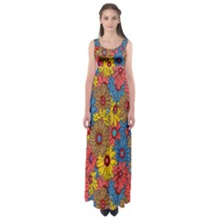 Background With Multi Color Floral Pattern Empire Waist Maxi Dress