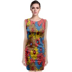 Background With Multi Color Floral Pattern Classic Sleeveless Midi Dress