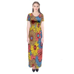 Background With Multi Color Floral Pattern Short Sleeve Maxi Dress