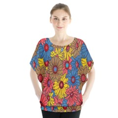 Background With Multi Color Floral Pattern Blouse