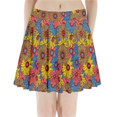 Background With Multi Color Floral Pattern Pleated Mini Skirt