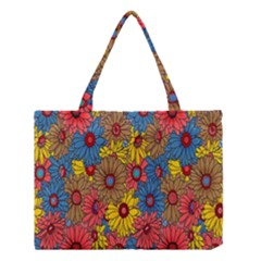 Background With Multi Color Floral Pattern Medium Tote Bag