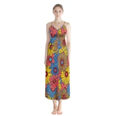 Background With Multi Color Floral Pattern Button Up Chiffon Maxi Dress