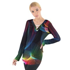 Abstract Rainbow Twirls Women s Tie Up Tee