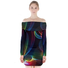 Abstract Rainbow Twirls Long Sleeve Off Shoulder Dress