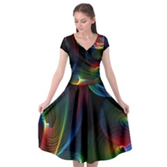Abstract Rainbow Twirls Cap Sleeve Wrap Front Dress