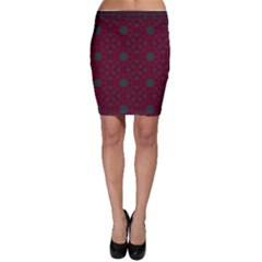 Blue Hot Pink Pattern With Woody Circles Bodycon Skirt