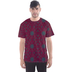 Blue Hot Pink Pattern With Woody Circles Men s Sports Mesh Tee