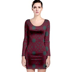 Blue Hot Pink Pattern With Woody Circles Long Sleeve Bodycon Dress