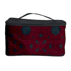 Blue Hot Pink Pattern With Woody Circles Cosmetic Storage Case