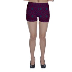 Blue Hot Pink Pattern With Woody Circles Skinny Shorts