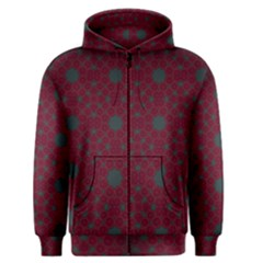 Blue Hot Pink Pattern With Woody Circles Men s Zipper Hoodie