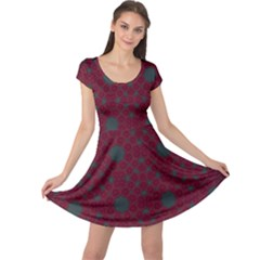 Blue Hot Pink Pattern With Woody Circles Cap Sleeve Dresses