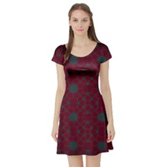 Blue Hot Pink Pattern With Woody Circles Short Sleeve Skater Dress
