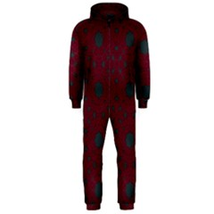 Blue Hot Pink Pattern With Woody Circles Hooded Jumpsuit (men)
