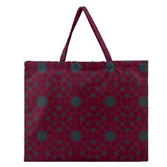 Blue Hot Pink Pattern With Woody Circles Zipper Large Tote Bag