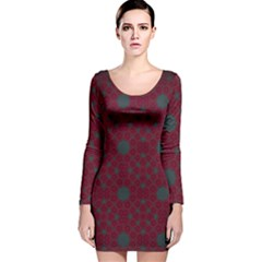 Blue Hot Pink Pattern With Woody Circles Long Sleeve Velvet Bodycon Dress