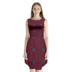 Blue Hot Pink Pattern With Woody Circles Sleeveless Chiffon Dress