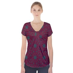 Blue Hot Pink Pattern With Woody Circles Short Sleeve Front Detail Top