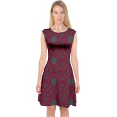 Blue Hot Pink Pattern With Woody Circles Capsleeve Midi Dress