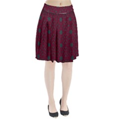 Blue Hot Pink Pattern With Woody Circles Pleated Skirt
