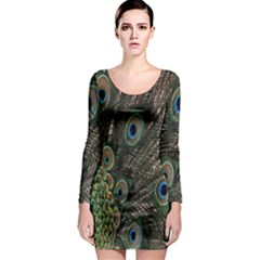 Close Up Of Peacock Feathers Long Sleeve Bodycon Dress