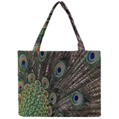 Close Up Of Peacock Feathers Mini Tote Bag