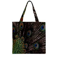 Close Up Of Peacock Feathers Zipper Grocery Tote Bag