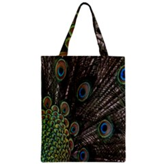 Close Up Of Peacock Feathers Zipper Classic Tote Bag