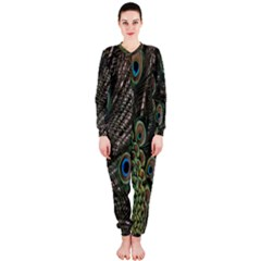 Close Up Of Peacock Feathers Onepiece Jumpsuit (ladies)